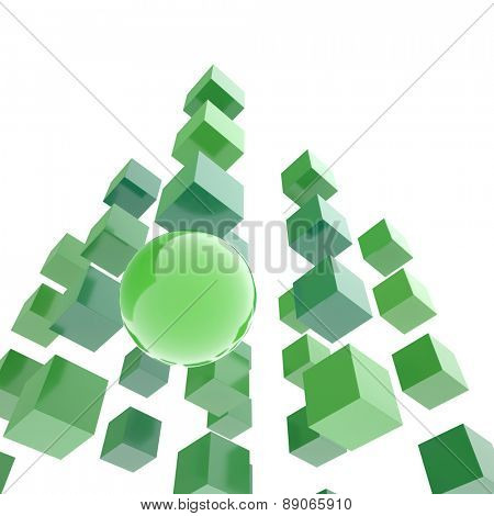 Sphere among cubes isolated on white. Abstract illustration.