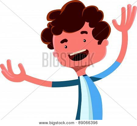 Happy boy spreading his arms vector illustration cartoon character