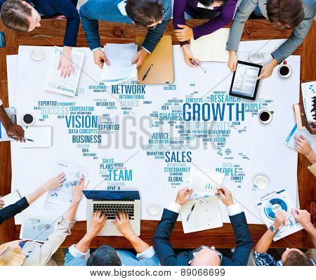Growth Sales Vision Team Network Idea People Concept