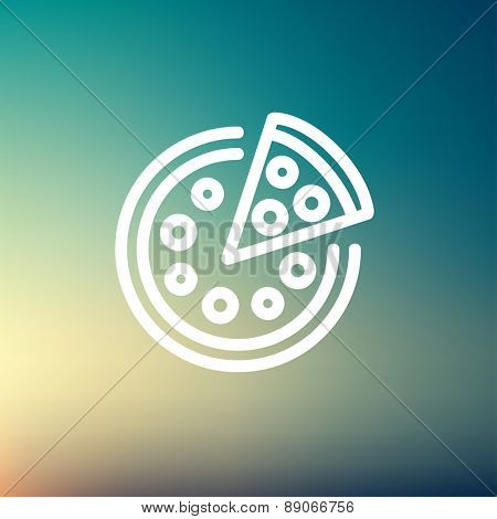 Whole pizza with slice icon thin line for web and mobile, modern minimalistic flat design. Vector white icon on gradient mesh background.