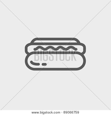 Hotdog sandwich icon thin line for web and mobile, modern minimalistic flat design.  Vector dark grey icon on light grey background.