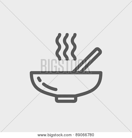 Hot meal in bowl icon thin line for web and mobile, modern minimalistic flat design.  Vector dark grey icon on light grey background.