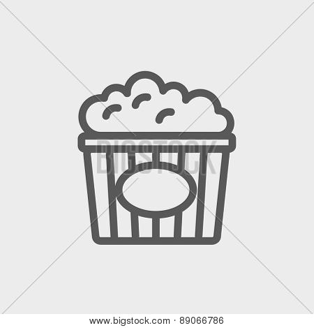 Popcorn icon thin line for web and mobile, modern minimalistic flat design.  Vector dark grey icon on light grey background.
