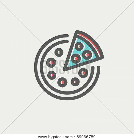 Whole pizza with slice icon thin line for web and mobile, modern minimalistic flat design. Vector icon with dark grey outline and offset colour on light grey background.