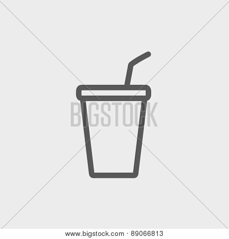 Disposable cup with lid and straw icon thin line for web and mobile, modern minimalistic flat design. Vector dark grey icon on light grey background.