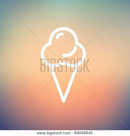 Ice cream icon thin line for web and mobile, modern minimalistic flat design. Vector white icon on gradient mesh background.