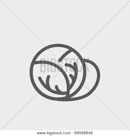 Cabbage icon thin line for web and mobile, modern minimalistic flat design. Vector dark grey icon on light grey background.