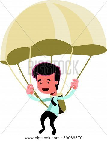 Golden parachute businessman vector illustration cartoon character