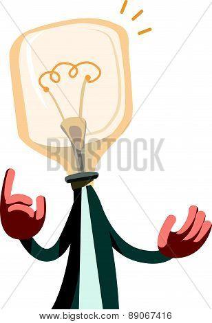 Man with idea light bulb vector illustration cartoon character