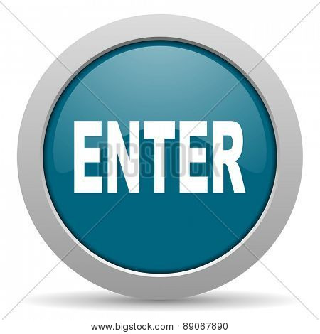enter blue glossy web icon