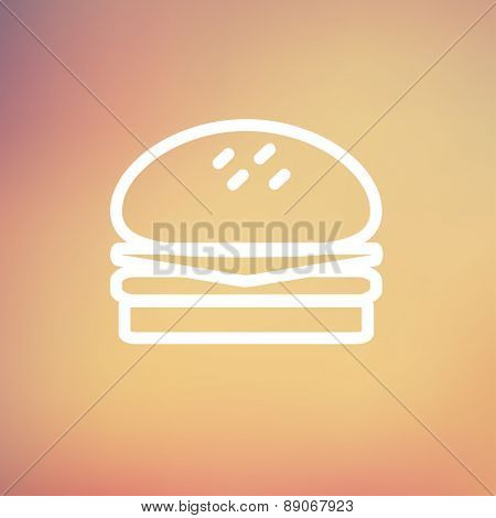 Hamburger icon thin line for web and mobile, modern minimalistic flat design. Vector white icon on gradient mesh background.