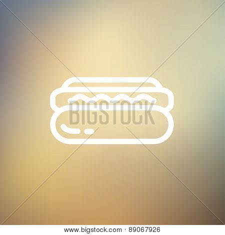 Hotdog sandwich icon thin line for web and mobile, modern minimalistic flat design. Vector white icon on gradient mesh background.