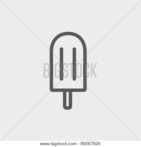 Popsicle icon thin line for web and mobile, modern minimalistic flat design.  Vector dark grey icon on light grey background.