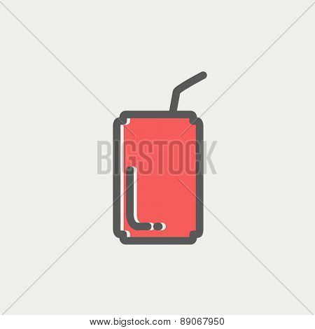 Soda can with straw icon thin line for web and mobile, modern minimalistic flat design. Vector icon with dark grey outline and offset colour on light grey background.
