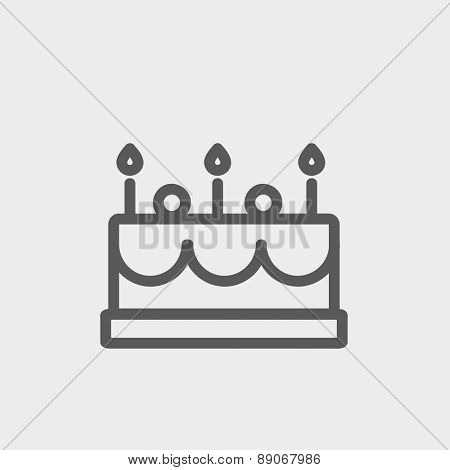 Birthday cake with candle icon thin line for web and mobile, modern minimalistic flat design.  Vector dark grey icon on light grey background.