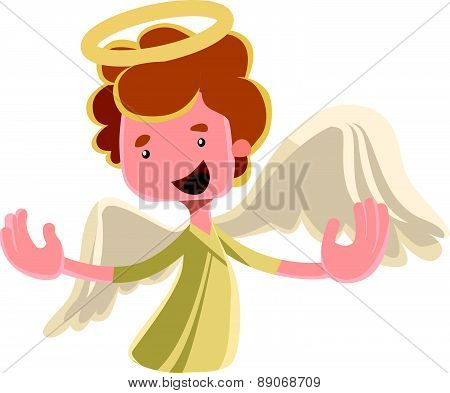 Beautiful angel spreading wings vector illustration cartoon character