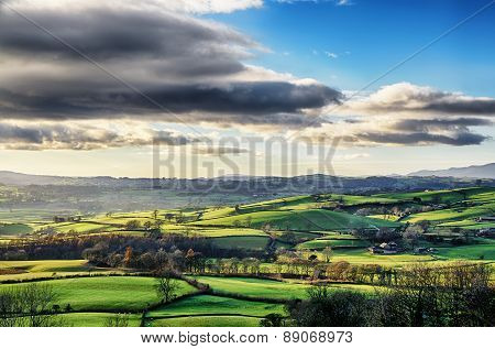 Rolling English countryside in Cumbria.