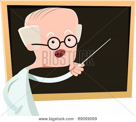 Old man teaching at class vector illustration cartoon character