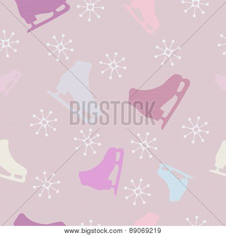 Gentle seamless pattern with skates