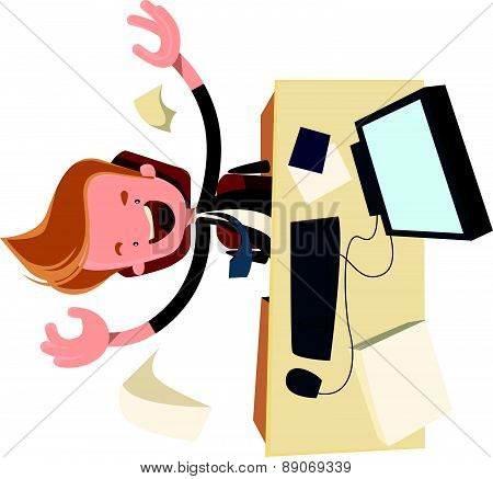 Business enthysiasm at work desk vector illustration cartoon character