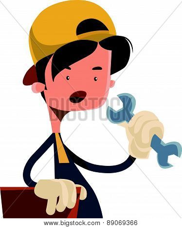Boy holding working tool vector illustration cartoon character