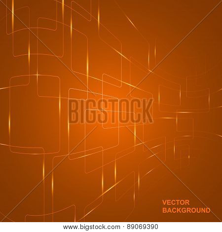 Vector Illustration Of Technology Abstract Background With Glowing Curved Lines.