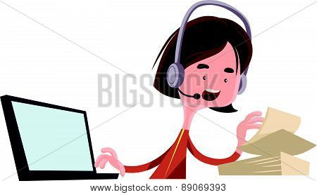 Office worker job employee talking vector illustration cartoon character