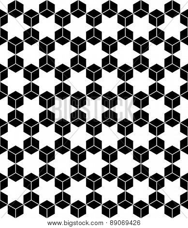 Hexagons and hexagrams seamless pattern. Vector art.