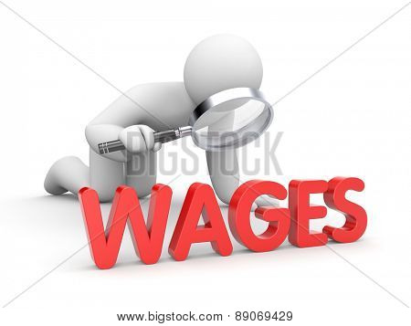 Human with magnifying glass examine wage