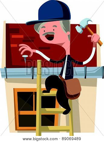 House craft worker man fixing vector illustration cartoon character