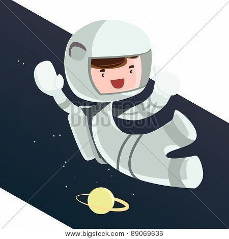 Astronaut scientist in space vector illustration cartoon character