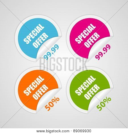Set Colorful Circle Special Offer Stickers. Vector Illustration