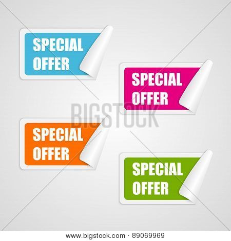 Set Colorful Square Special Offer Stickers. Vector Illustration