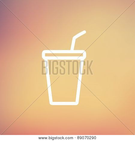 Disposable cup with lid and straw icon thin line for web and mobile, modern minimalistic flat design. Vector white icon on gradient mesh background.