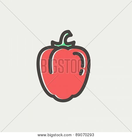 Bell pepper icon thin line for web and mobile, modern minimalistic flat design. Vector icon with dark grey outline and offset colour on light grey background.