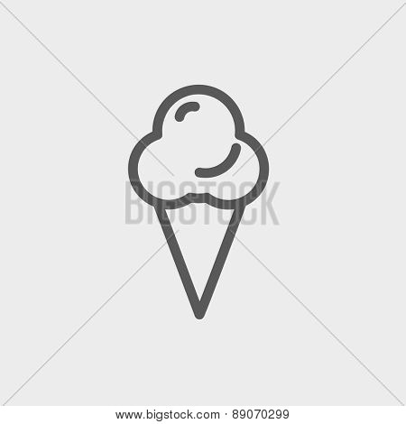 Ice cream icon thin line for web and mobile, modern minimalistic flat design.  Vector dark grey icon on light grey background.