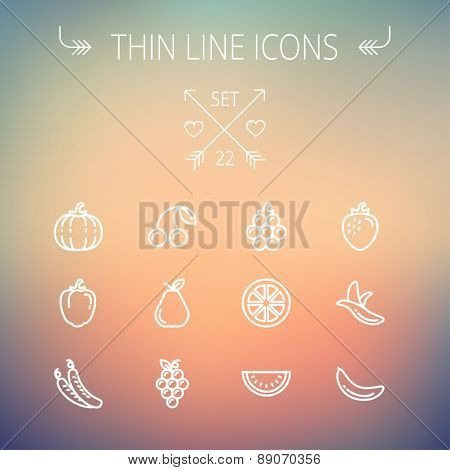 Food and drink thin line icon set for web and mobile. Set includes-banana, watermelon, cherry, squash, grapes, lanzones, peas, pear icons. Modern minimalistic flat design. Vector white icon on