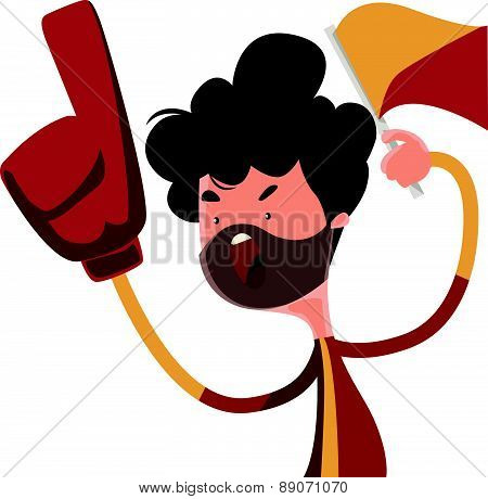 Fire fan cheering for his team vector illustration cartoon character