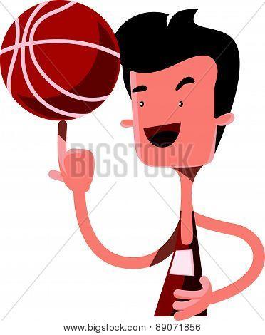 Boy spinning basketball ball on finger vector illustration cartoon character