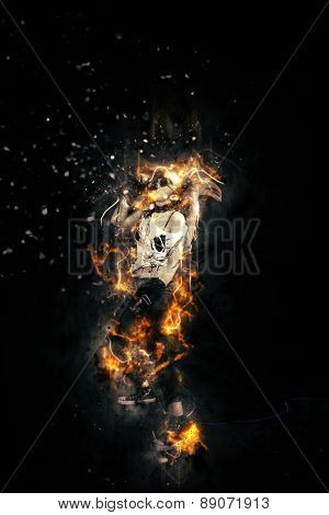 Female rock singer on fire
