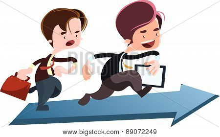 Running to the top business vector illustration cartoon character