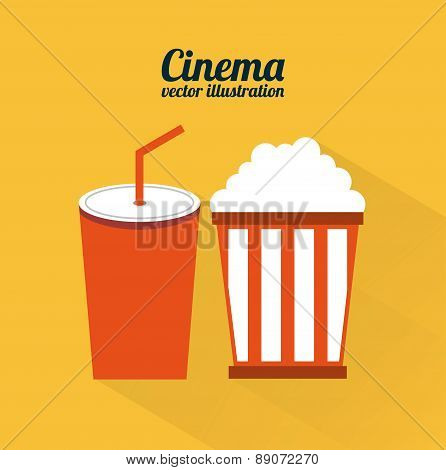 cinema design over orange background vector illustration