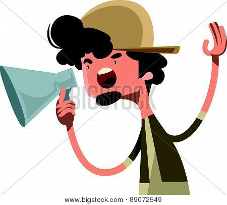 Movie director yelling cut vector illustration cartoon character