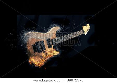 Electric Guitar on fire with water splashing Isolated on Black Background