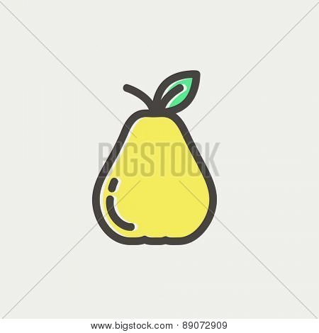 Pear icon thin line for web and mobile, modern minimalistic flat design. Vector icon with dark grey outline and offset colour on light grey background.