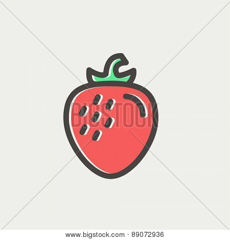 Strawberry icon thin line for web and mobile, modern minimalistic flat design. Vector icon with dark grey outline and offset colour on light grey background.