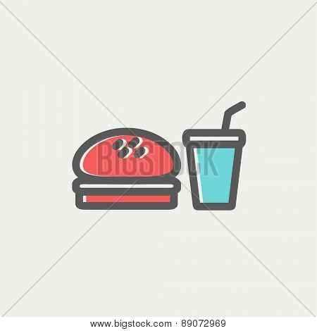 Fast food meal icon thin line for web and mobile, modern minimalistic flat design. Vector icon with dark grey outline and offset colour on light grey background.