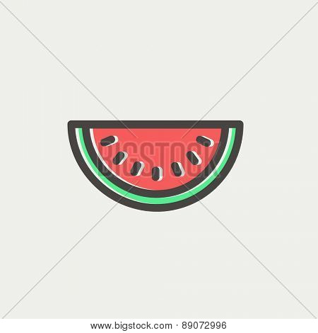 Watermelon slice icon thin line for web and mobile, modern minimalistic flat design. Vector icon with dark grey outline and offset colour on light grey background.