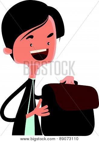 Man packing his business bag vector illustration cartoon character