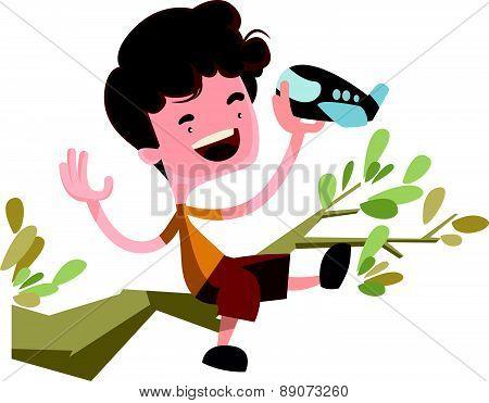 Young kid dreaming of flight vector illustration cartoon character